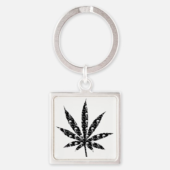 Skull Marijuana Leaf Square Keychain