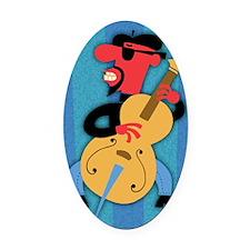 beatnik-bass-LG Oval Car Magnet