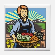 Organic Farmer Farm Produce Harvest R Tile Coaster
