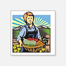 "Organic Farmer Farm Produce Square Sticker 3"" x 3"""