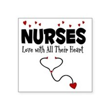 "Nurses Love With All Their  Square Sticker 3"" x 3"""