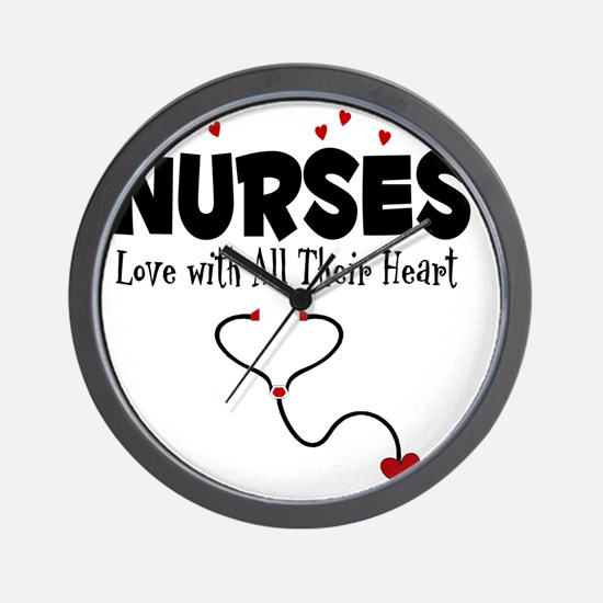 Nurses Love With All Their Heart Wall Clock
