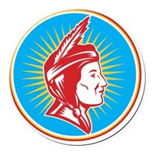 Native American Indian Squaw Woma Round Car Magnet