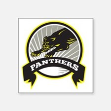 "Panther Big Cat Growling Square Sticker 3"" x 3"""