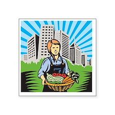 """Female Organic Farmer Harve Square Sticker 3"""" x 3"""""""