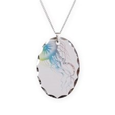 colorful jellyfish silhouette Necklace