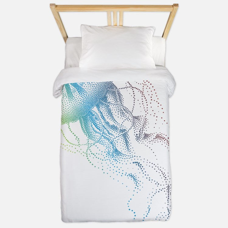 colorful jellyfish silhouette Twin Duvet