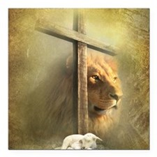"Lion of Judah, Lamb of G Square Car Magnet 3"" x 3"""