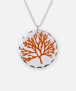 red sea fan coral drawing Necklace