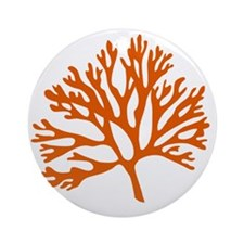 red sea fan coral drawing Round Ornament