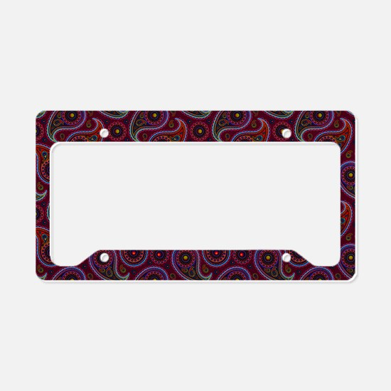 Burgundy Paisley Pattern License Plate Holder