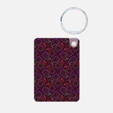 Burgundy Paisley Pattern Aluminum Photo Keychain