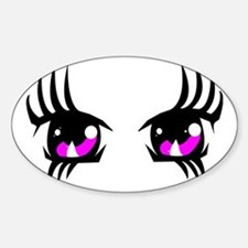 Pink Anime eyes Sticker (Oval)