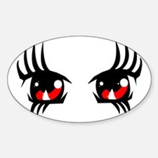 Red anime eyes Sticker (Oval)