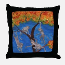 Monkeys hanging around Throw Pillow