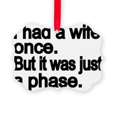 I had a wife once but it was just Ornament