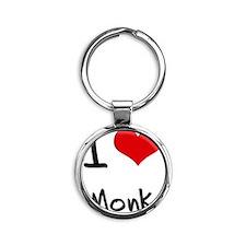 I Love Monk Round Keychain