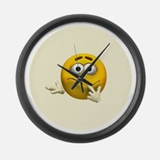 Confused Emoticon Large Wall Clock