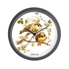 """Birds and Young """"Goldcrests"""" Peter Bere Wall Clock"""