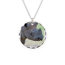 Black Rhino Love Rhinos T-Sh Necklace Circle Charm