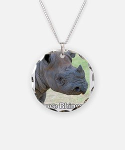 Black Rhino Love Rhinos T-Sh Necklace Circle Charm