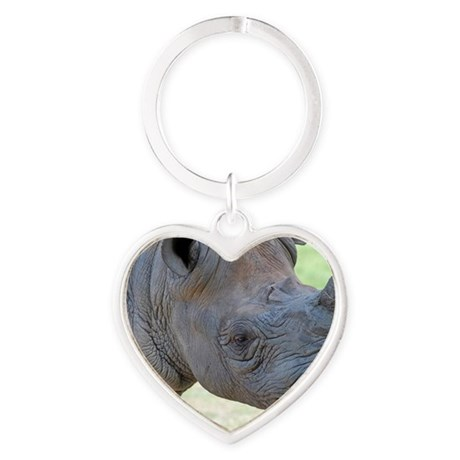 Black Rhino Panel Print Heart Keychain