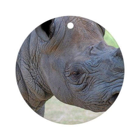 Black Rhino Panel Print Round Ornament