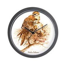 "Birds and Young ""Merlin Falcons"" Peter  Wall Clock"