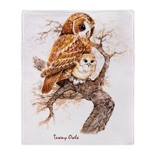 """Birds and Young """"Tawny Owls"""" Peter B Throw Blanket"""