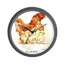 """Birds and Young """"Hen and Chicks"""" Peter  Wall Clock"""