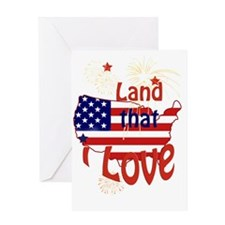 July 4th Land that I Love Blue Greeting Card