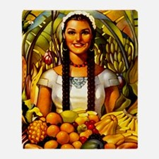 Vintage Mexico Fruit Travel Throw Blanket