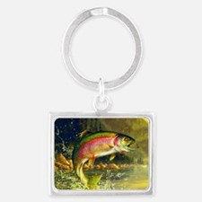 Jumping Rainbow Trout Landscape Keychain