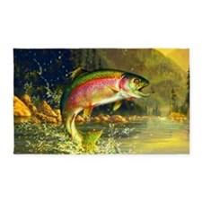 Jumping Rainbow Trout 3'x5' Area Rug