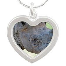 Black Rhino Birthday Card Silver Heart Necklace