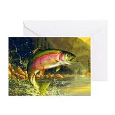 Jumping Rainbow Trout Greeting Card