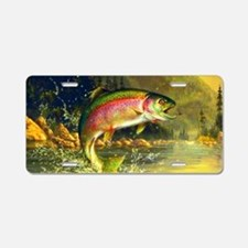 Jumping Rainbow Trout Aluminum License Plate