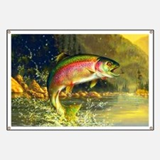 Jumping Rainbow Trout Banner