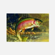 Jumping Rainbow Trout Rectangle Magnet