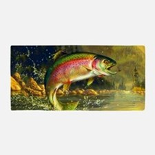 Jumping Rainbow Trout Beach Towel