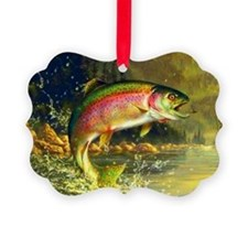 Jumping Rainbow Trout Ornament