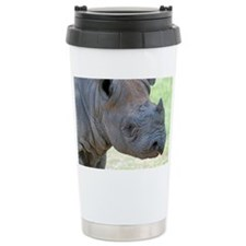 Black Rhino Pillow Case Travel Coffee Mug