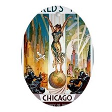 Vintage Chicago Worlds Fair B Oval Ornament