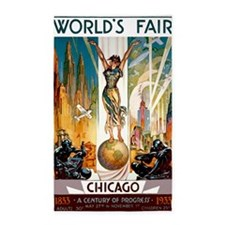Vintage Chicago Worlds Fair B 3'x5' Area Rug