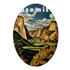 Vintage Yosemite Travel Oval Ornament