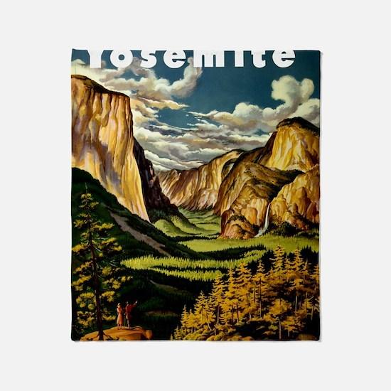 Vintage Yosemite Travel Throw Blanket