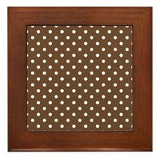 brown with white dots Framed Tile