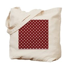 dark red with white dots Tote Bag