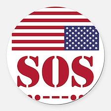 America SOS Round Car Magnet