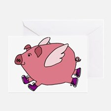 Flying Pig with Sneakers Greeting Card